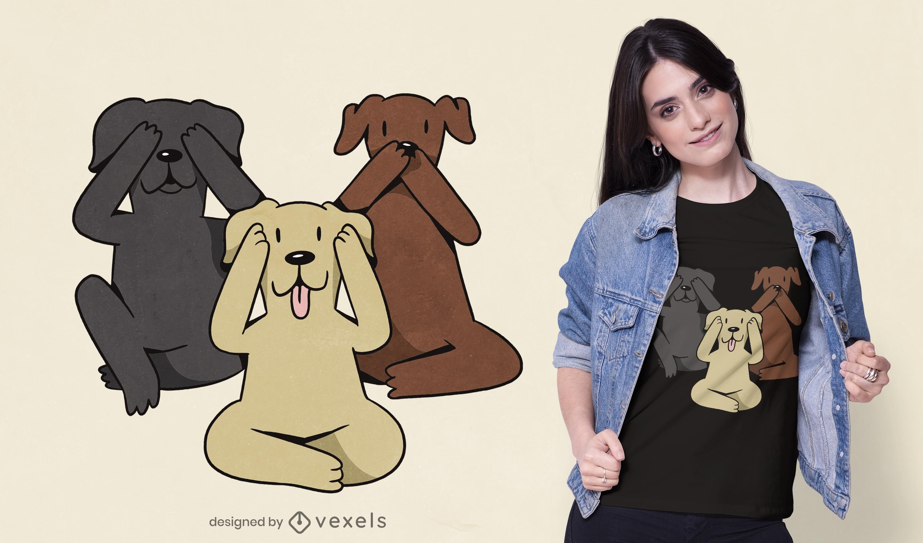 Three wise dogs t-shirt design