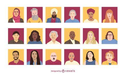 Conjunto de diseño de avatar de personas