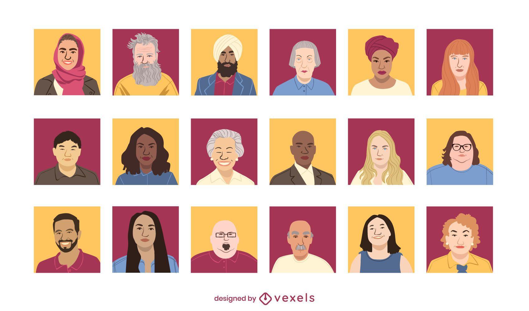 Conjunto de design de avatar de pessoas