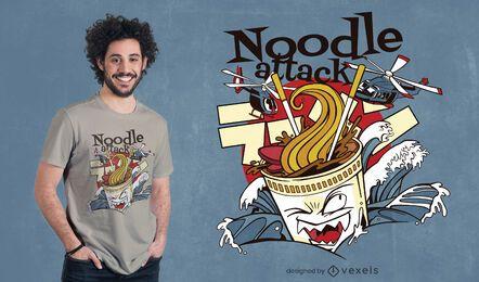 Diseño de camiseta de ataque de fideos