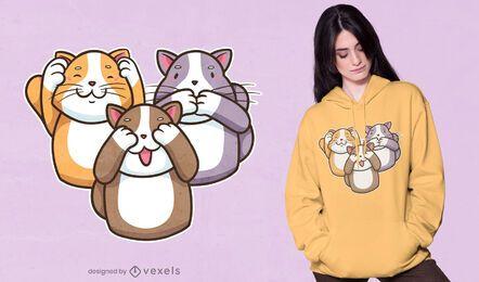 Diseño de camiseta de tres gatos sabios.