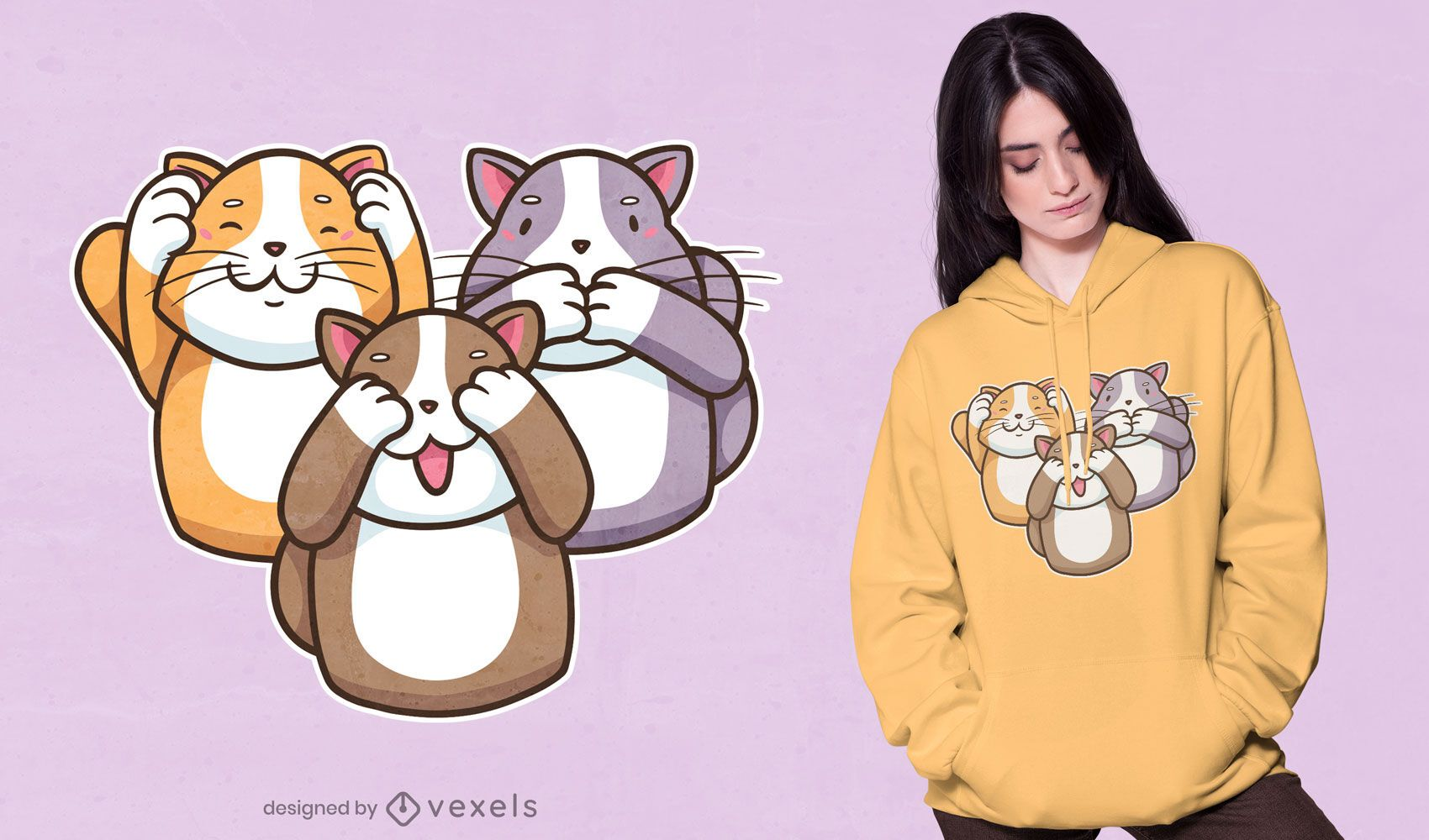 Three wise cats t-shirt design