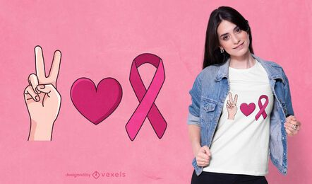 Diseño de camiseta de símbolos de cáncer de mama