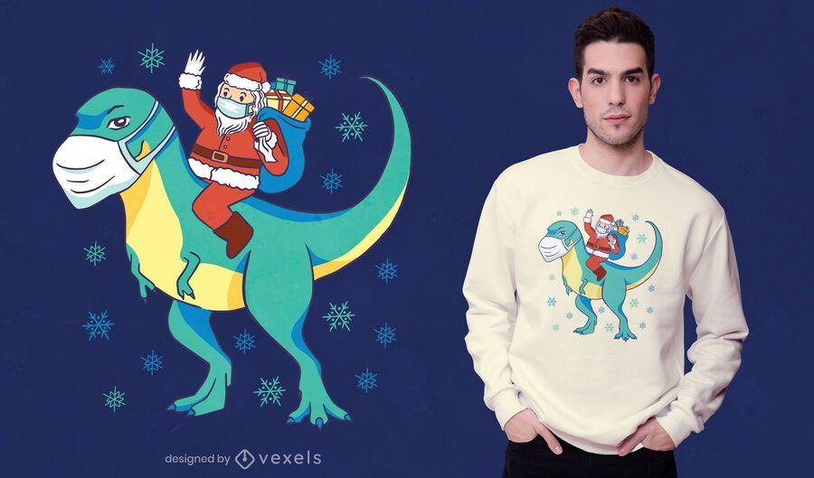 Diseño de camiseta de dinosaurio de santa