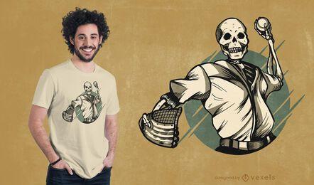 Diseño de camiseta de esqueleto de béisbol