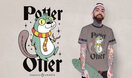 Design de camiseta de lontra Potter