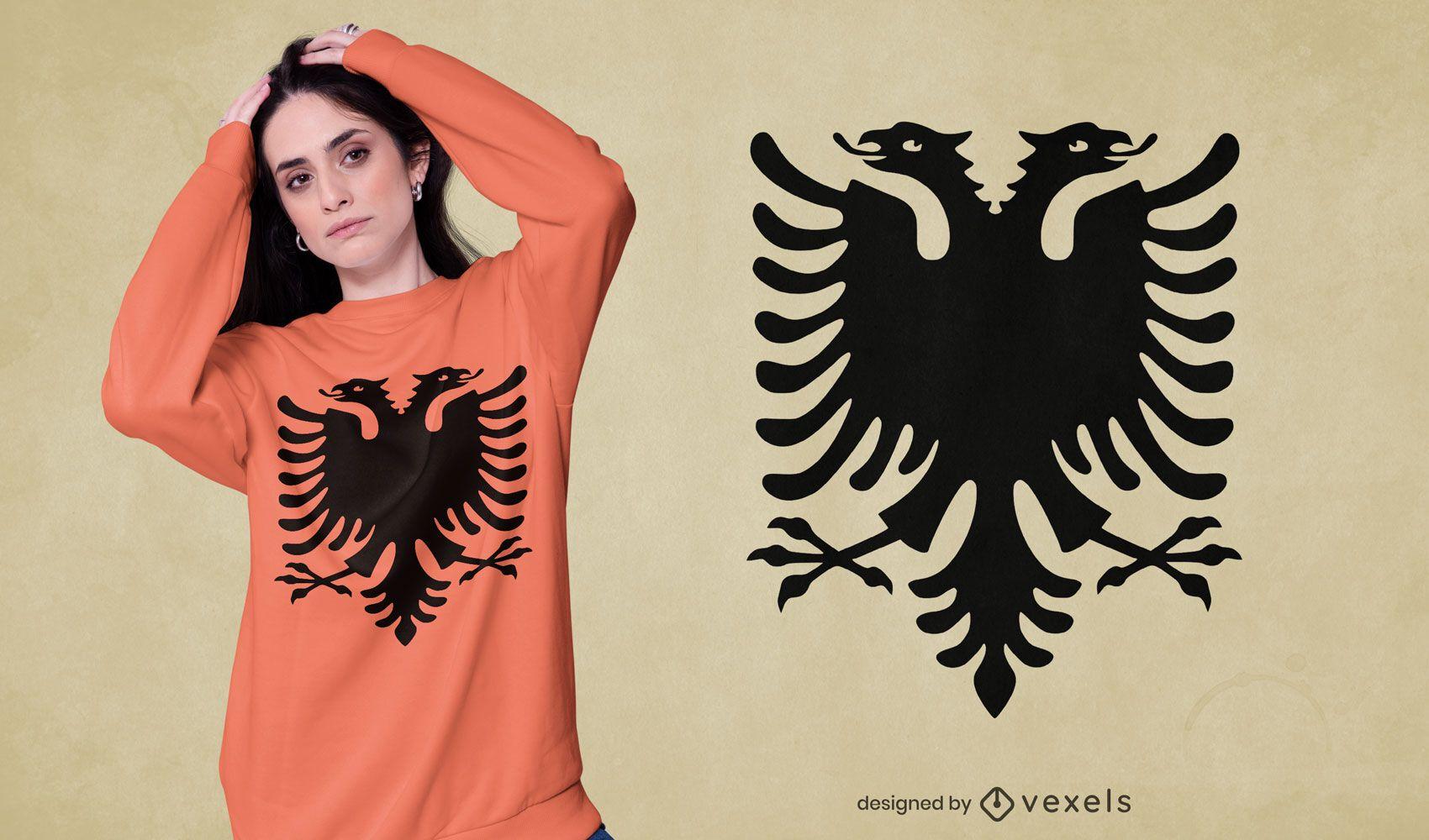 Diseño de camiseta de águila bicéfala.