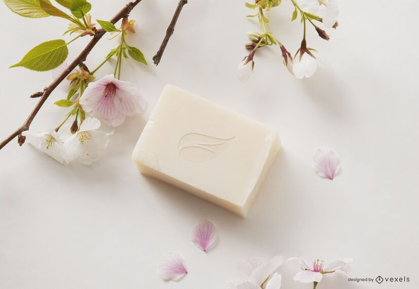 Cosmetic soap mockup composition