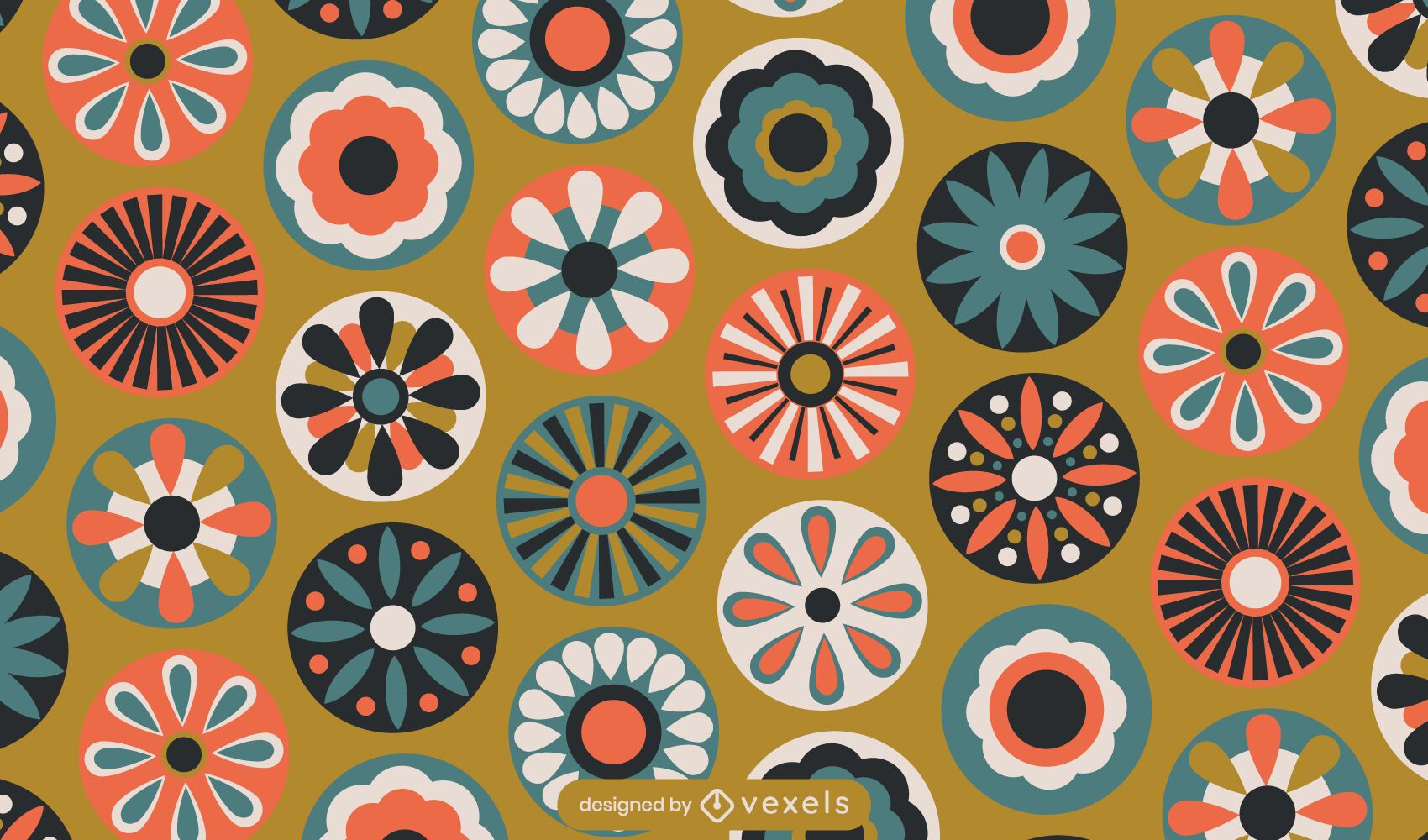 Diseño de patrón de flores geométricas