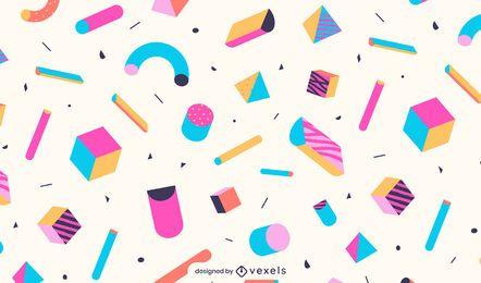 Desenho de padrões de formas geométricas coloridas
