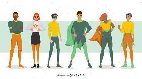 Super-herói posa conjunto de caracteres