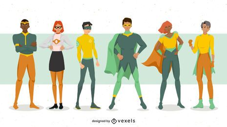 Superhero poses character set