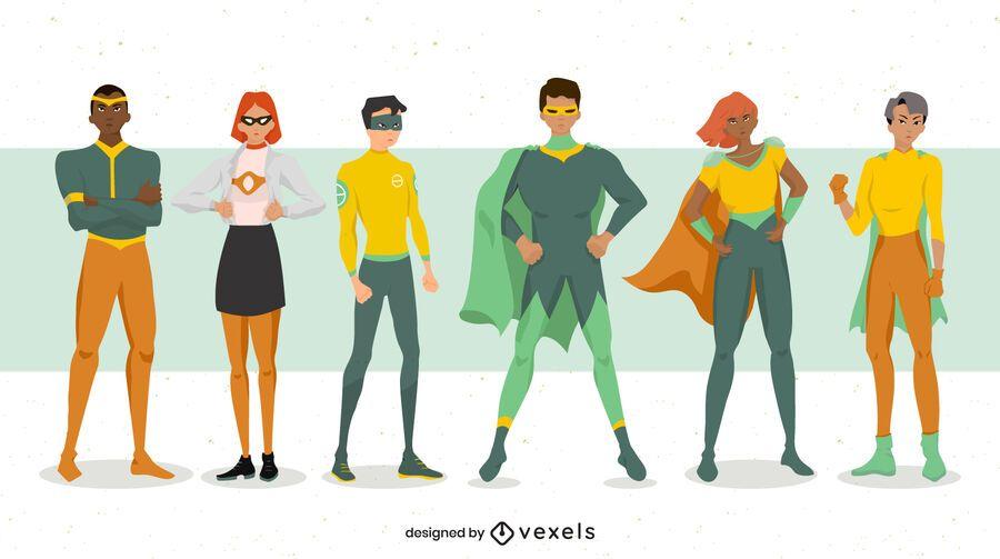 Superhero poses character set