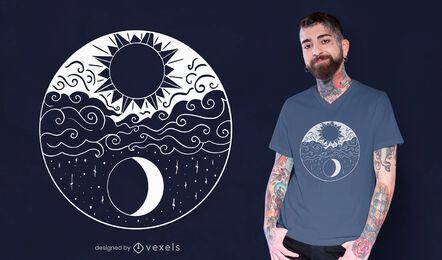 Diseño artístico de camiseta sol y luna.