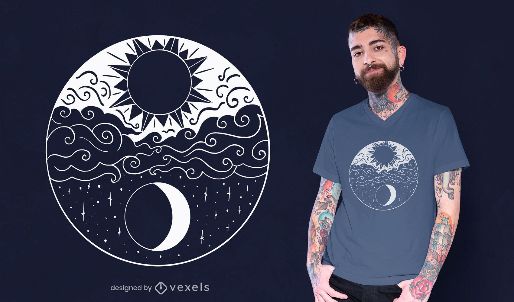 Artistic sun and moon t-shirt design