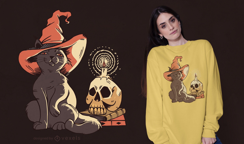 Design de t-shirt de gato bruxa de Halloween