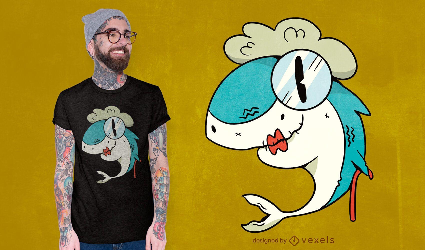 Diseño de camiseta abuela tiburón