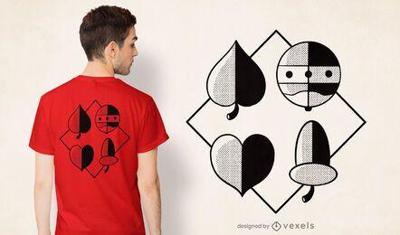 Diseño de camiseta de símbolos de naipes alemanes