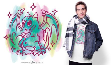 Aquarell Drachen T-Shirt Design