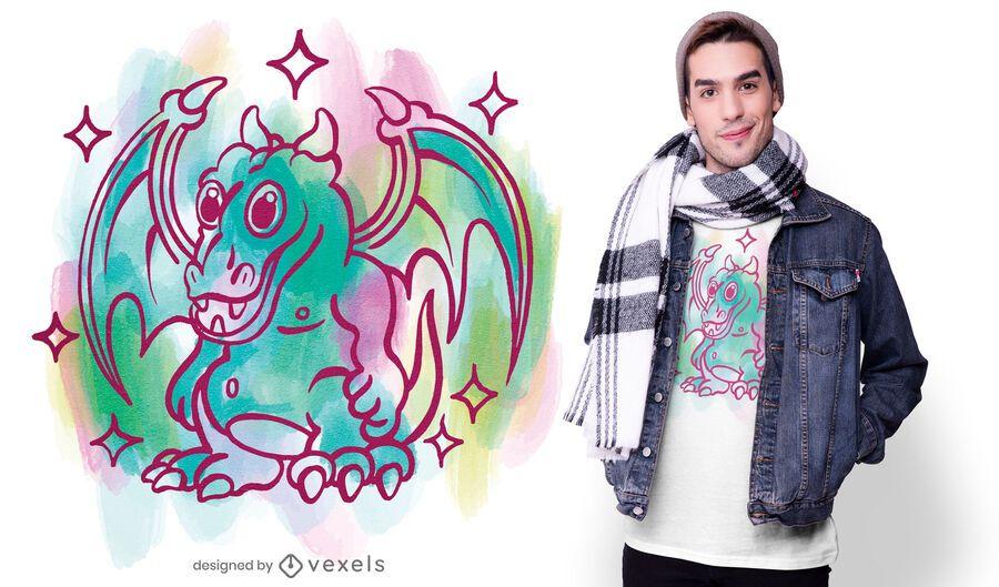 Desenho de camiseta de dragão em aquarela