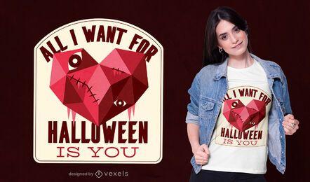 Halloween-T-Shirt-Design mit niedrigem Polyherz
