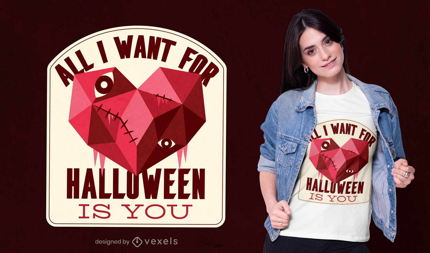 Design de camiseta do dia das bruxas com coração baixo poli
