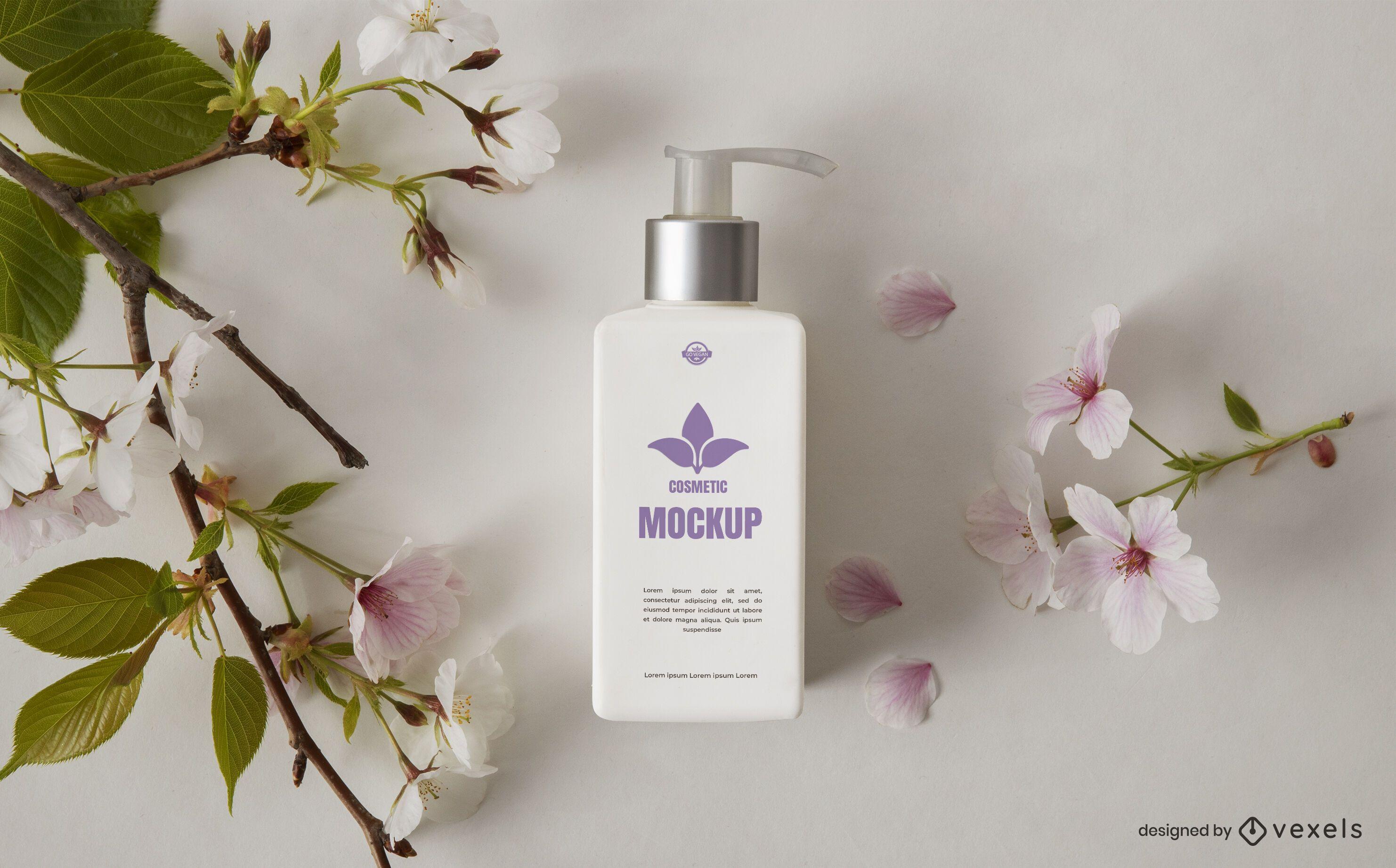 Cosmetic pump bottle mockup composition