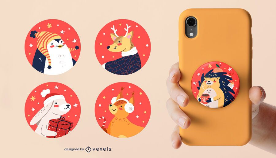 Christmas animals popsocket set