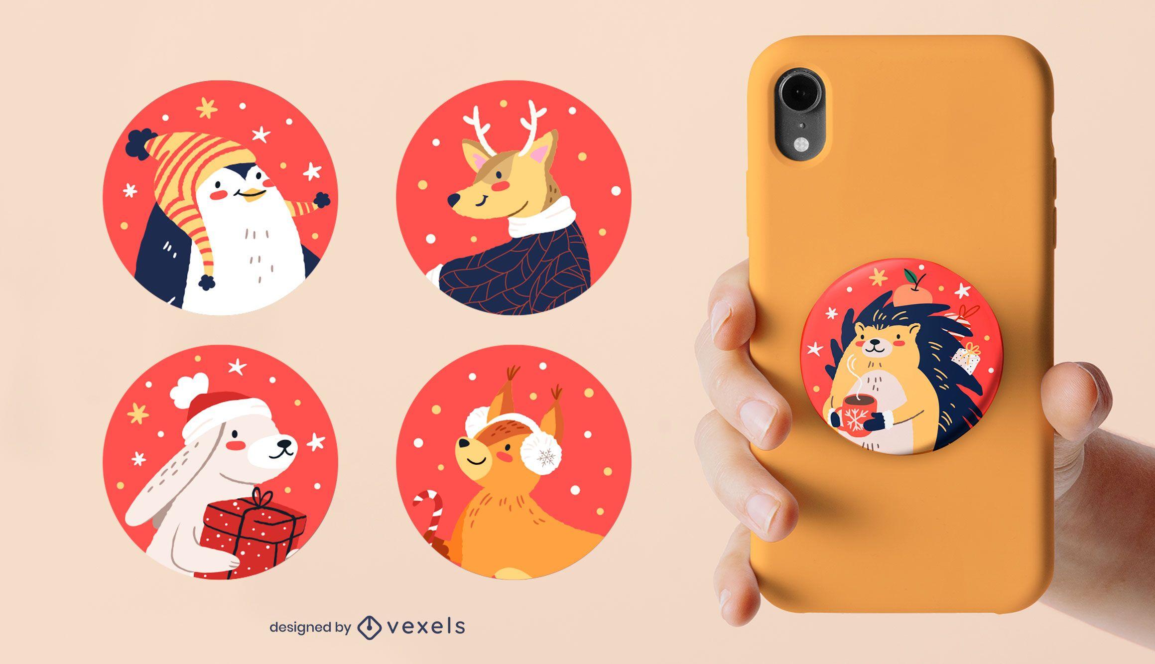 Popsocket de animales navideños