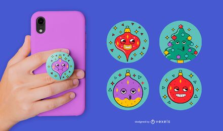 Funny christmas ornaments popsocket set