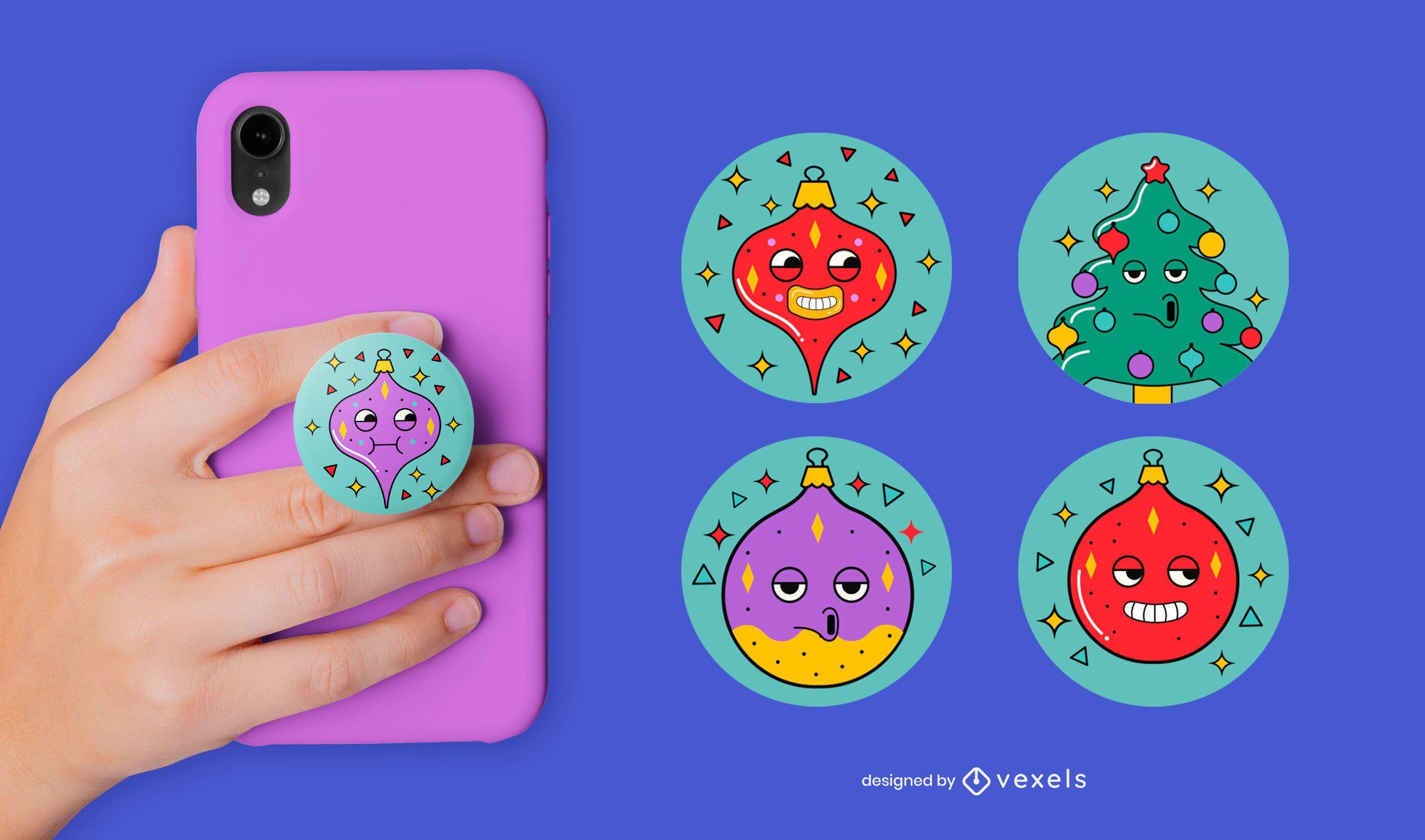 Lustiges Weihnachtsschmuck-Popsocket-Set