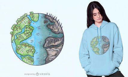 Diseño de camiseta de ambiente dividido.