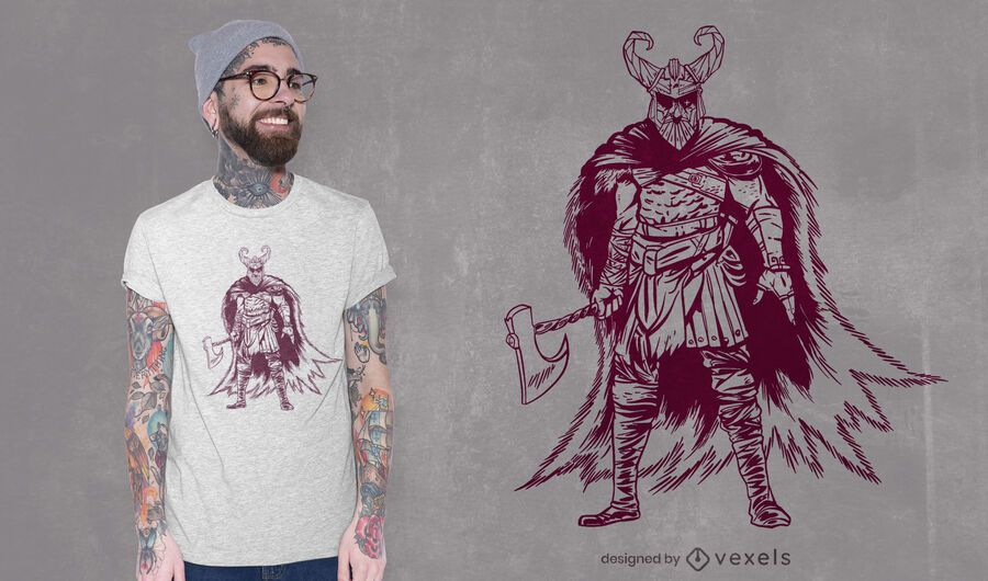 Diseño de camiseta Odin posando