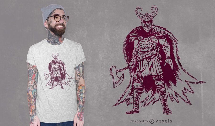 Odin posando com design de camiseta