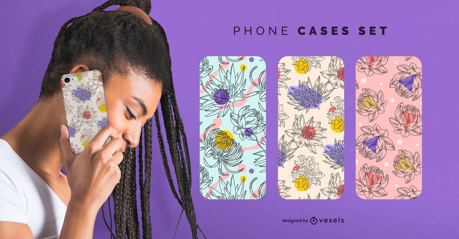Conjunto de capas de telefone com flores desenhadas à mão