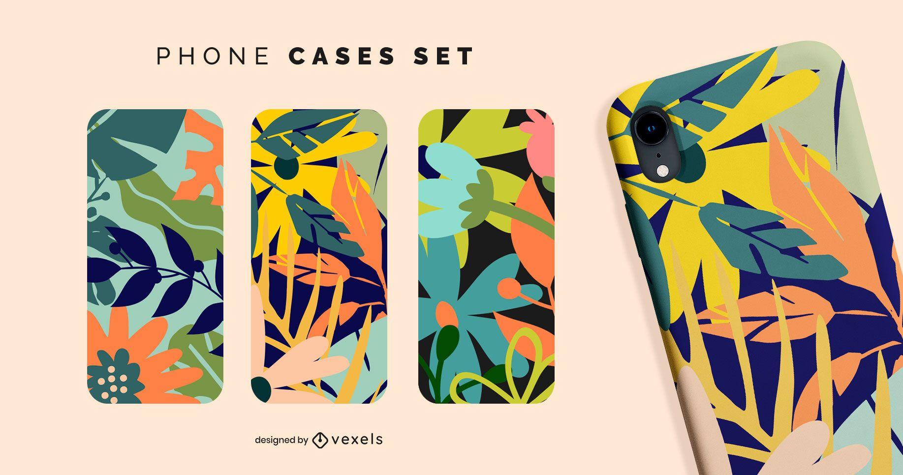 Set de fundas de móvil con flores tropicales