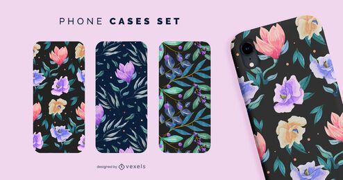 Conjunto de capas de telefone com flores e folhas