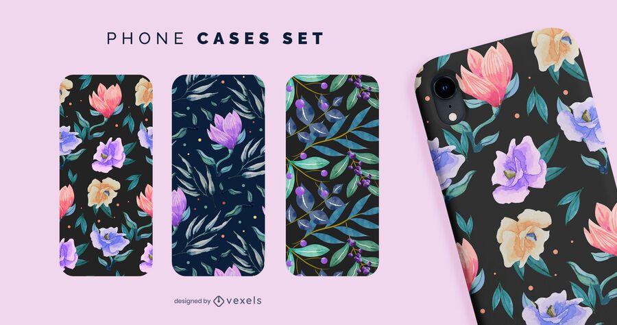 Set de fundas de teléfono con flores y hojas