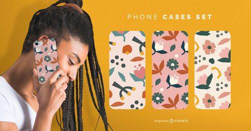 Conjunto de capas de telefone de flores planas