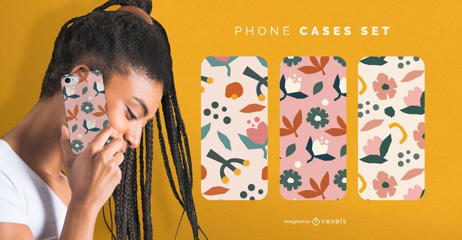 Flat flowers phone cases set
