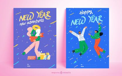 Happy new year 2021 card set