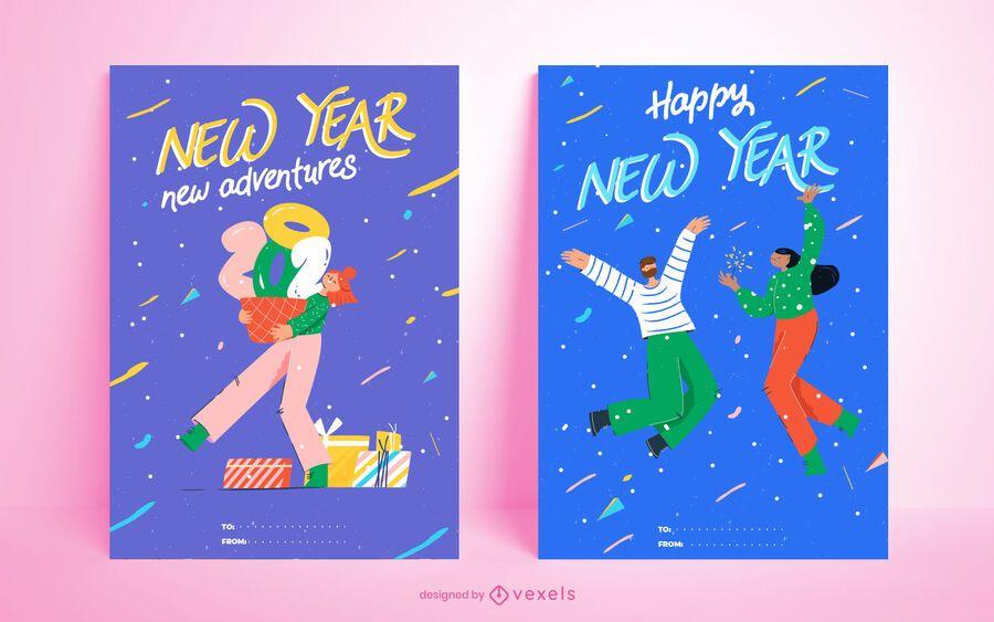 Feliz año nuevo 2021 conjunto de tarjetas