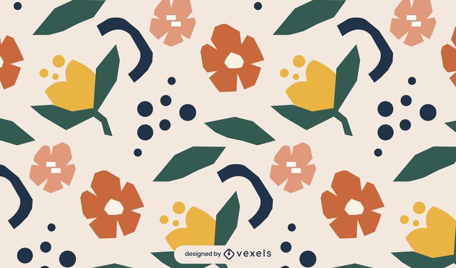 Desenho de padrão floral geométrico