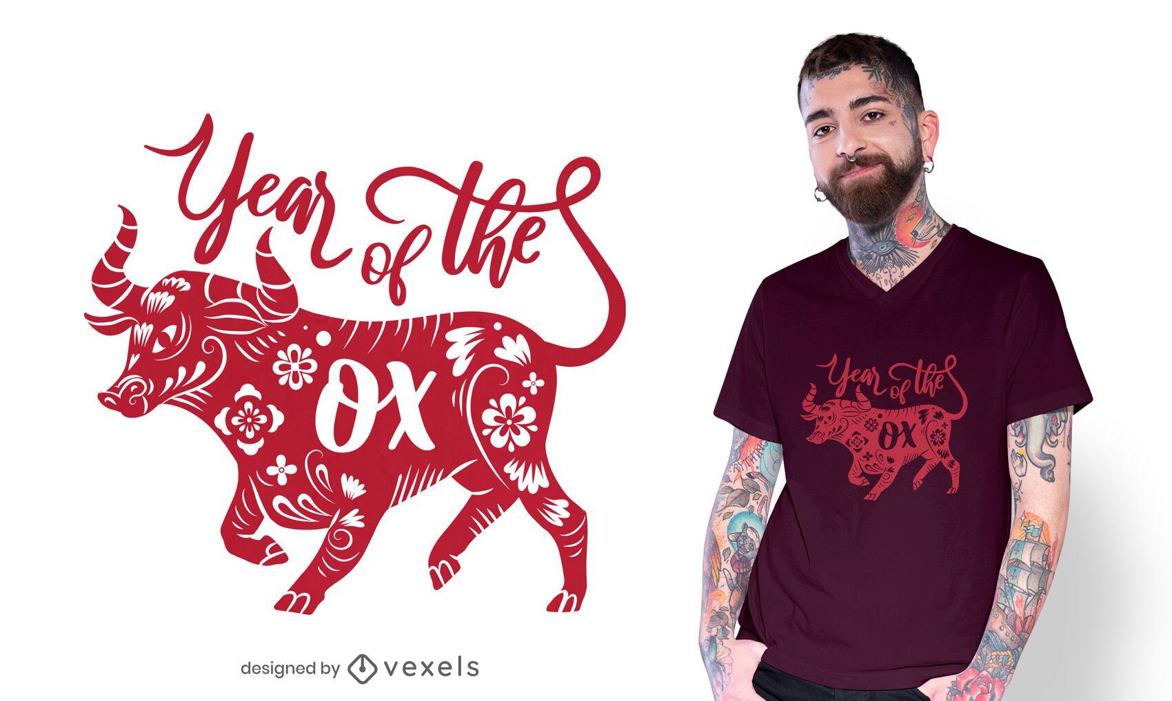 Diseño de camiseta año del buey.