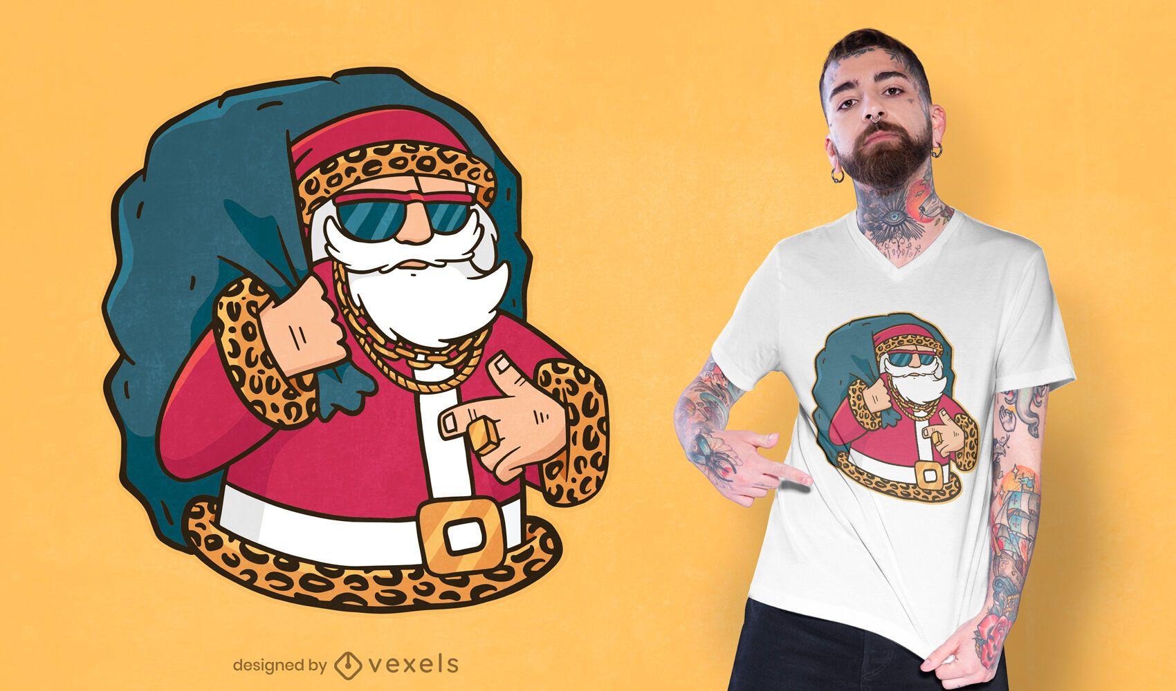 Diseño de camiseta rapero santa