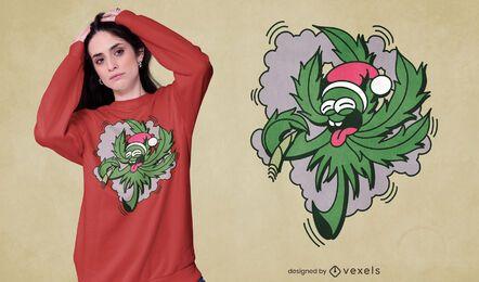 Diseño de camiseta Santa Weed