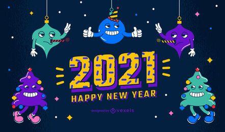 2021 design de fundo de ano novo