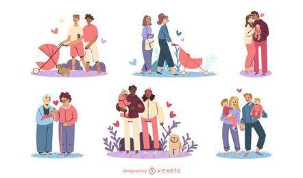 Conjunto de diseño de ilustración de familias