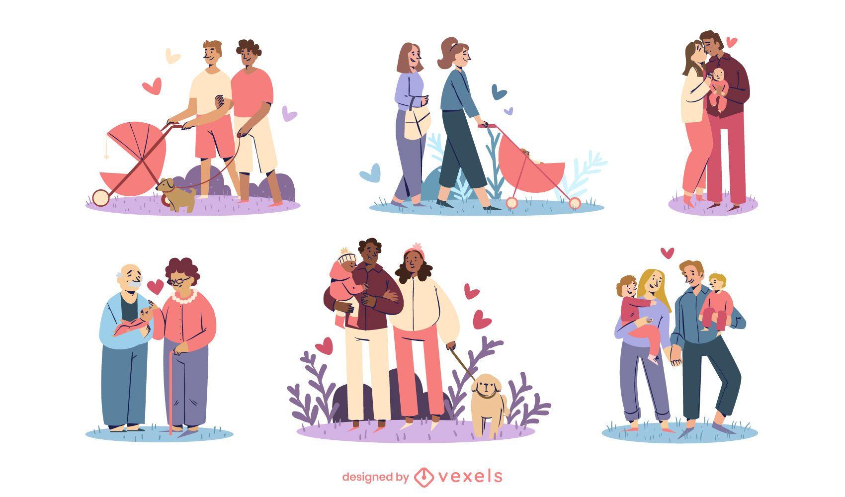 Conjunto de design de ilustração de famílias