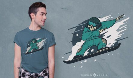 Snowboarding skeleton t-shirt design
